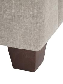 Bank Warren (2-zits) in zandgrijs met een mix van linnen stof, Frame: hout, Bekleding: 60% katoen, 40% linnen, Poten: zwart hout, Geweven stof zandgrijs, 178 x 85 cm