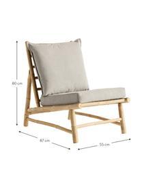 Fotel wypoczynkowy z drewna bambusowego Bamslow, Stelaż: drewno bambusowe, Tapicerka: 100% bawełna, Szary, brązowy, S 55 x G 87 cm