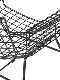 Metall-Armlehnstuhl Wire in Schwarz, Metall, pulverbeschichtet, Schwarz, B 72 x T 56 cm