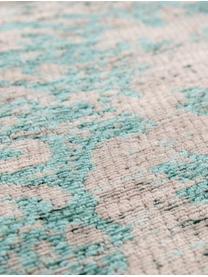 Vintage chenille vloerkleed Medaillon, Bovenzijde: chenille (katoen), Weeftechniek: jacquard, Onderzijde: chenille, gecoat met late, Groen, roze, B 140 x L 200 cm (maat S)