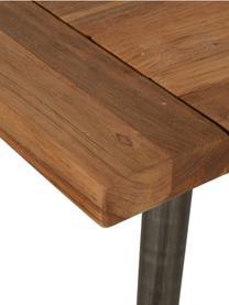 Tavolo con piano in legno massello Kapal, Piano d'appoggio: teak massiccio riciclato , Gambe: acciaio con tracce metall, Legno di teak, Larg. 200 x Prof. 90 cm