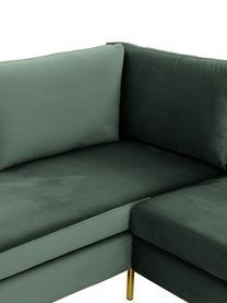 Fluwelen hoekbank Luna, Bekleding: fluweel (polyester), Frame: massief beukenhout, Poten: gegalvaniseerd metaal, Donkergroen, B 280 x D 184 cm