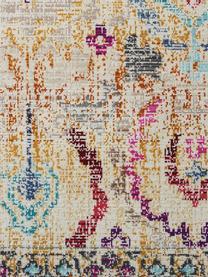 Tapis multicolore à poils ras Kashan Vintage, Beige, multicolore