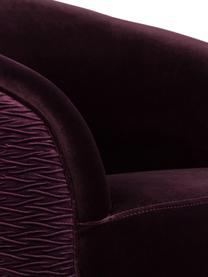 Poltrona in velluto viola So Curvy, Rivestimento: velluto di poliestere 30., Piedini: acciaio inossidabile, zin, Velluto viola, Larg. 78 x Prof. 77 cm