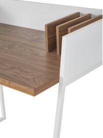 Małe biurko z przedziałami Camille, Korpus: płyta pilśniowa (MDF), la, Nogi: metal lakierowany, Drewno orzecha włoskiego, biały, S 90 x G 60 cm