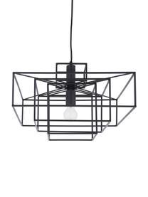 Suspension métal noir Cube, Noir, mat