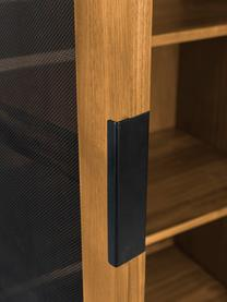 Highboard Hardy aus Holz und Metall, Gestell: Mitteldichte Holzfaserpla, Beine: Metall, beschichtet, Eichenholz, Schwarz, 80 x 180 cm