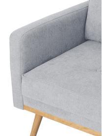 Sessel Saint in Hellgrau mit Eichenholz-Füßen, Bezug: Polyester Der hochwertige, Gestell: Massives Kiefernholz, Spa, Webstoff Hellgrau, B 85 x T 76 cm