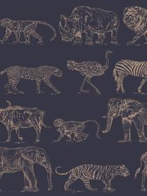 Carta da parati Safari, Tessuto non tessuto, Blu scuro, beige, Larg. 52 x Alt. 1005 cm