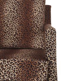 Fauteuil en velours imprimé léopard Claudette, Brun, noir
