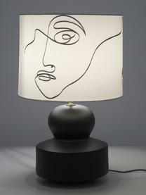 Große Moderne Keramik-Tischlampe Georgina, Lampenschirm: Textil, Lampenfuß: Keramik, Dekor: Metall, vermessingt, Cremeweiß, Schwarz, Ø 33 x H 52 cm