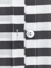 Gestreifte Baumwollperkal-Bettwäsche Yuliya, Webart: Perkal Fadendichte 180 TC, Dunkelgrau, Weiß, 240 x 220 cm + 2 Kissen 80 x 80 cm