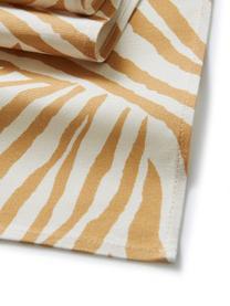 Runner Zadie, 100% cotone, da coltivazione sostenibile di cotone, Giallo senape, bianco crema, Larg. 40 x Lung. 140 cm