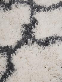 Tapis moelleux à poils longs Mona, Blanc crème, gris foncé