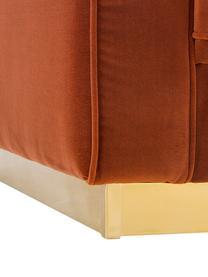 Divano 3 posti in velluto rosso ruggine Chelsea, Rivestimento: velluto (rivestimento in , Struttura: legno di abete rosso mass, Struttura: metallo rivestito, Rosso ruggine, Larg. 228 x Prof. 100 cm