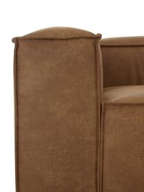 Modulares Sofa Lennon (4-Sitzer) in Braun aus recyceltem Leder, Bezug: Recyceltes Leder (70% Led, Gestell: Massives Kiefernholz, Spe, Füße: Kunststoff, Leder Braun, B 326 x T 119 cm