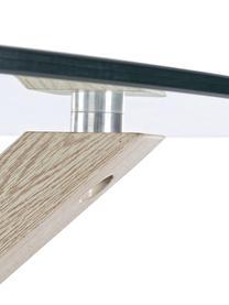 Eettafel May met glazen tafelblad, Tafelblad: glas,gehard, Poten: metaal, in folie met eike, Transparent, eikenhoutkleurig, Ø 114 cm