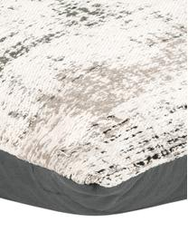 Housse de coussin 45x45 vintage Corinne, Blanc crème, noir, gris