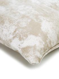 Poszewka na poduszkę z aksamitu Shiny, 100% aksamit poliestrowy, Kremowy, S 40 x D 40 cm