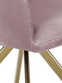 Sedia girevole in velluto con braccioli Lola, Rivestimento: velluto (100% poliestere), Gambe: metallo, zincato, Velluto malva, gambe oro, Larg. 58 x Prof. 53 cm