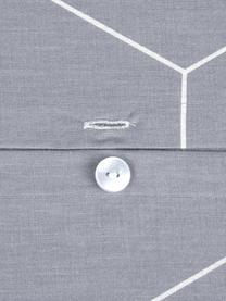 Baumwoll-Bettwäsche Lynn mit grafischem Muster, Webart: Renforcé Fadendichte 144 , Grau, Cremeweiß, 135 x 200 cm + 1 Kissen 80 x 80 cm