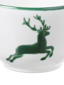 Handbeschilderd koffiekopje Classic Green Deer, Keramiek, Groen, wit, 190 ml
