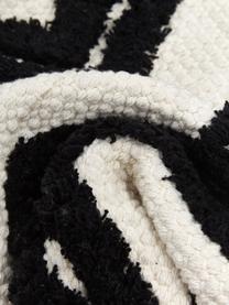 Federa arredo boho con motivo a zigzag trapuntato Akesha, 100% cotone, Ecru, nero, Larg. 45 x Lung. 45 cm