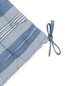 Gestreiftes Baumwollsitzkissen Tosa, 100% Baumwolle, Blau, Weiß, 40 x 4 cm