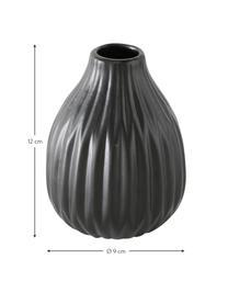 Kleines Vasen-Set Esko aus Porzellan, 3-tlg., Porzellan, Schwarz, Sondergrößen