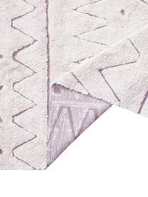 Waschbarer Baumwollteppich Azteca mit geometrischem Muster und Quasten, Flor: 97% Baumwolle 3% Gemischt, Beige, B 90 x L 130 cm (Größe XS)