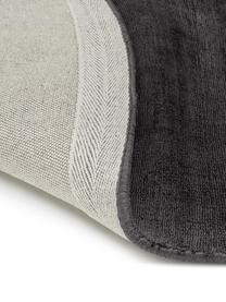 Tappeto rotondo in viscosa tessuto a mano Jane, Retro: 100% cotone, Nero antracite, Ø 200 cm (taglia L)