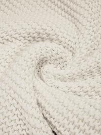 Coperta a maglia bianca naturale Adalyn, 100% cotone, Bianco naturale, Larg. 150 x Lung. 200 cm