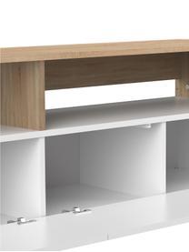 TV-Lowboard Horizon in Weiß mit Eichenholz-Optik, Füße: Buchenholz, massiv, lacki, Eichenholz, Weiß, 180 x 61 cm