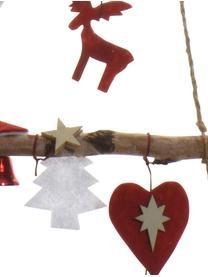Albero di Natale da parete in legno Rinde, Legno di betulla, Legno di betulla, rosso, L 34 x A 100 cm