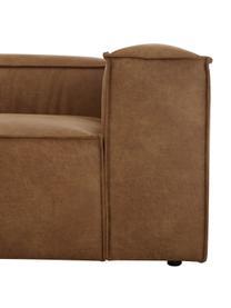 Modulaire chaise longue Lennon in bruin van gerecycled leer, Bekleding: gerecycled leer (70% leer, Frame: massief grenenhout, multi, Poten: kunststof De poten bevind, Leer bruin, B 269 x D 119 cm