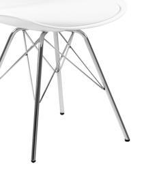 Chaises en plastique Eris, 2pièces, Blanc, chrome