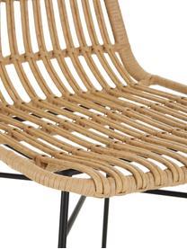Sedia intrecciata Costa 2 pz, Seduta: treccia di polietilene, Struttura: metallo verniciato a polv, Marrone chiaro, gambe nero, Larg. 47 x Prof. 62 cm