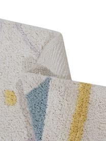 Waschbarer Baumwollteppich Azteca mit buntem Muster und Quasten, Flor: 97% Baumwolle 3% Gemischt, Beige, Gelb, Blau, Grau, Dunkelgrau, B 120 x L 160 cm (Größe S)