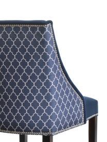 Krzesło tapicerowane z aksamitu Flora, Aksamitny ciemny niebieski, nogi: ciemny brązowy, S 48 x G 55 cm