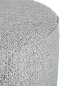 Pouf in bouclé grigio chiaro Orchid, Rivestimento: Bouclé (70% poliestere, 2, Cornice: compensato, Piedini: metallo verniciato a polv, Grigio, Ø 38 x Alt. 38 cm