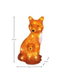 Batteriebetriebenes LED Leuchtobjekt Fox H 34 cm, Kunststoff, Orange, Weiß, Schwarz, 21 x 34 cm