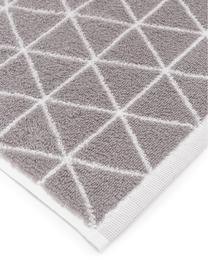 Serviette de toilette réversible en coton pur Elina, Gris, blanc crème