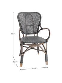 Krzesło ogrodowe z rattanu Xyli, Stelaż: rattan lakierowany, Czarny, S 62 x G 54 cm