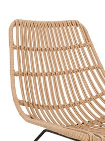 Sedia a poltrona boho marrone chiaro Costa, Seduta: intreccio in polietilene, Struttura: metallo verniciato a polv, Marrone chiaro, Larg. 64 x Prof. 64 cm