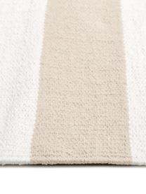 Gestreifter Baumwollteppich Blocker in Beige/Weiß, handgewebt, 100% Baumwolle, Cremeweiß/Taupe, B 200 x L 300 cm (Größe L)