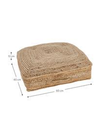 Vloerkussen Ural, Bovenzijde: jute, Onderzijde: katoen, Jutekleurig, 60 x 60 cm
