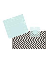 In- & Outdoor-Teppich Palma mit Zickzack-Muster, beidseitig verwendbar, 100% Polypropylen, Schwarz, Creme, B 80 x L 150 cm (Größe XS)