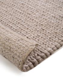 Tappeto in lana tessuto a mano con struttura intrecciata Uno, Retro: cotone, Taupe, Larg. 200 x Lung. 300 cm (taglia L)