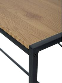 Úzký psací stůl z dřeva a kovu Seaford, Deska stolu: divoký dub Rám: černá