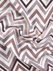 Baumwollsatin-Bettwäsche Maui mit Zickzack-Muster, Webart: Satin Fadendichte 200 TC,, Weiß, Mauve, 240 x 220 cm + 2 Kissen 80 x 80 cm